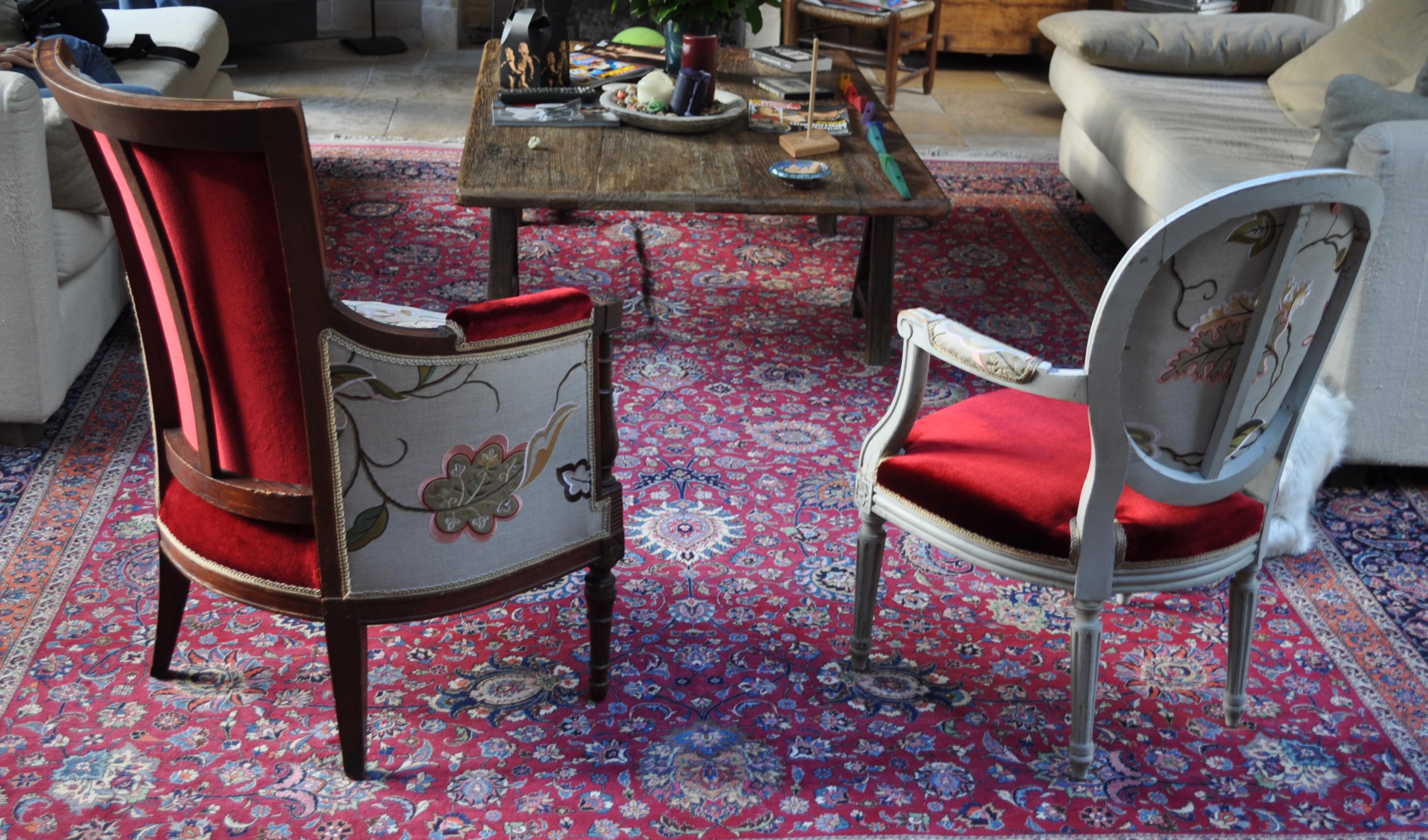 fauteuil directoire et chaise m daillon louis xvi atelier secrea. Black Bedroom Furniture Sets. Home Design Ideas