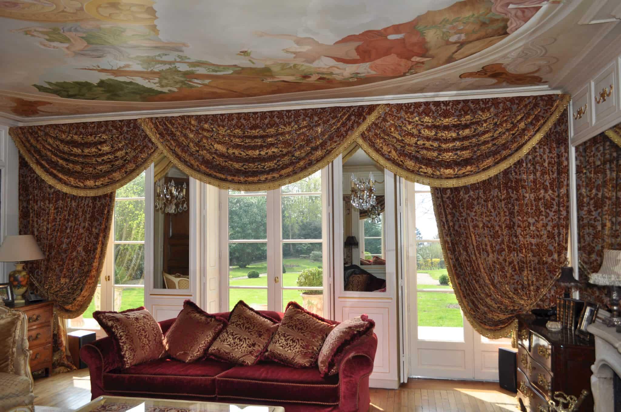Canap et rideaux festons atelier secrea - Rideaux style anglais ...